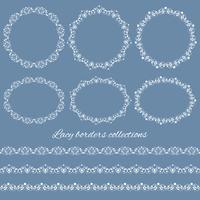 Définir des collections de bordures de dentelle vintage et des cadres vecteur