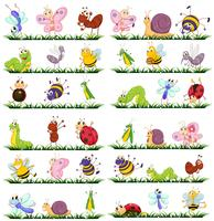 Différents types d'insectes sur l'herbe vecteur