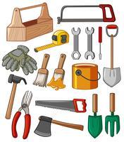Boîte à outils et nombreux outils vecteur