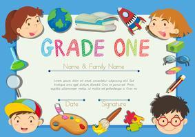 Certificat avec enfants à la frontière vecteur