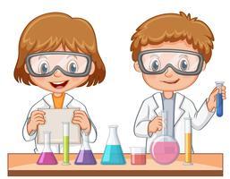 Deux étudiants font une expérience scientifique vecteur