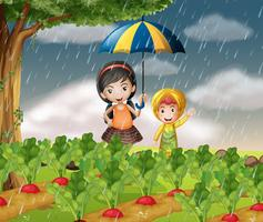 Enfants dans le jardin quand il pleut vecteur