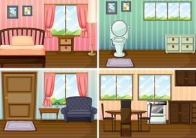 Quatre scènes de pièces dans la maison