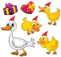 Thème de Noël avec des canards et des cadeaux vecteur