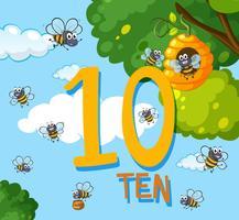 Comptez le nombre dix abeille