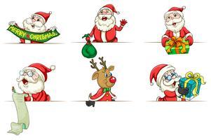 Père Noël et Rennes dans différentes actions vecteur