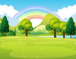 Scène de la nature d'un parc avec arc-en-ciel vecteur