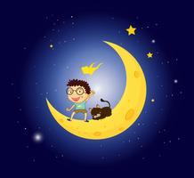 Un garçon et son animal de compagnie à la lune