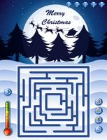 Modèle de jeu de labyrinthe avec thème de Noël vecteur
