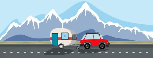 Un voyage en caravane sur la montagne enneigée vecteur