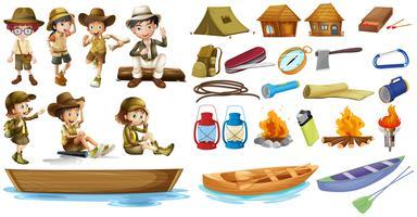 Les campeurs et les choses utilisées pendant le camping vecteur