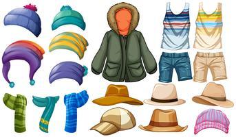 Vêtements d'hiver et d'été vecteur