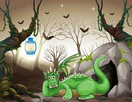 Un dragon vert devant c vecteur