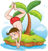 Un garçon qui plonge à l'eau froide vecteur