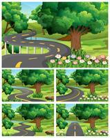 Cinq scènes de jardin avec chemin vide