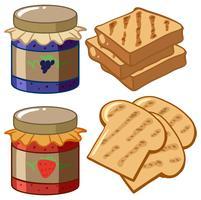 Confiture et pain sur fond blanc vecteur