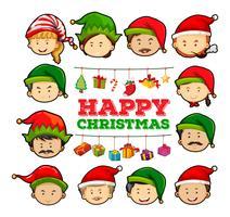 Carte de Noël avec des gens portant des chapeaux de fête vecteur