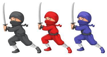 Trois ninjas vecteur