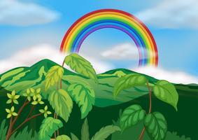 Un magnifique paysage de montagne verte vecteur