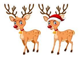 Deux joyeux renne de Noël vecteur