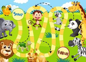 Modèle de jeu de plateau animal de la jungle
