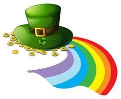 Un chapeau vert avec des jetons d'or