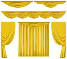 Différents modèles de rideaux jaunes vecteur