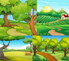 Quatre scènes avec ferme et parc vecteur