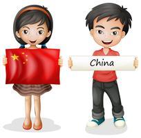 Garçon et fille avec le drapeau de la Chine vecteur