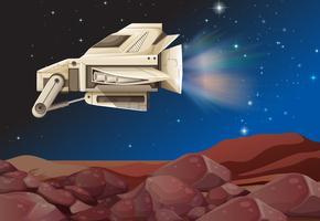 Vaisseau spatial volant au-dessus de la planète vecteur