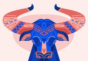 Bumba Meu Boi Bulls peint Vector Illustration plat