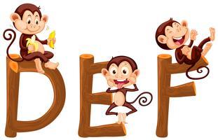 Singes sur l'alphabet anglais vecteur