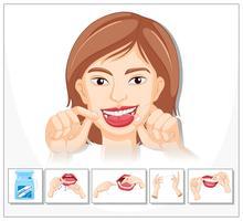 Femme montrant comment utiliser la soie dentaire vecteur