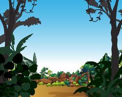 Scène de fond avec arbres et champ vecteur