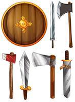 Un bouclier, des épées et des haches