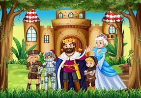 Personnages de conte de fées au palais vecteur