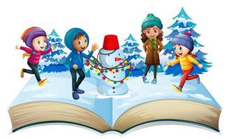 Saison d'hiver avec enfants et bonhomme de neige vecteur