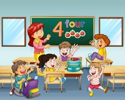 Enseignant et étudiants en classe