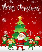 Modèle de joyeux Noël Père Noël et elfe