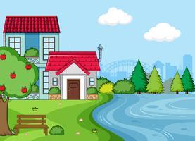 Un paysage terrestre simple maison vecteur