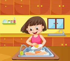 Une fille nettoie le plat dans la cuisine vecteur