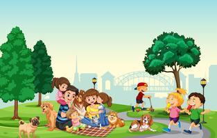 Les gens passent des vacances au parc vecteur