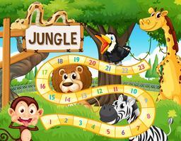 Modèle de jeu de plateau animal de la jungle vecteur