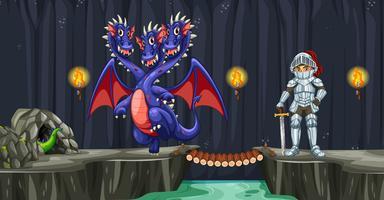 Un chevalier se battre avec dragon
