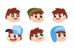 Enfants garçon tête caractère émotion définie vector plate illustration