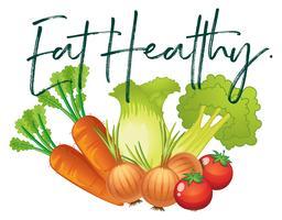 Légumes frais et phrase manger sainement vecteur
