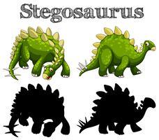 Deux stegosaurus sur fond blanc vecteur