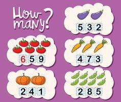 Modèle de feuille de travail pour compter combien vecteur