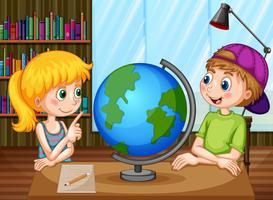 Enfants et globe vecteur