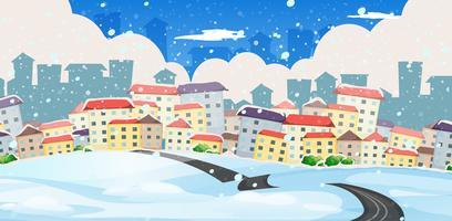 Une route vers la grande ville en hiver vecteur